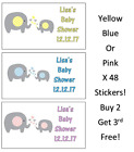 Baby Shower Personalised Stickers Elephant Blue Pink Or Yellow Party Bags