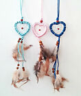 Heart Dream Catcher - Dark Blue, Pale Blue or Pink Shinny Cord -Natural Feathers