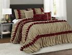 Queen Cal King Gold Burgundy Striped Ruffles Pleated 7 pc Comforter Set Bedding