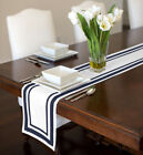 Sweet Jojo Contemporary Navy & White Stripe Hotel Collection Table Runner