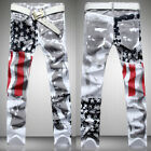 Fashion Men's Distressed Jeans Printed Slim Fit Long Pants Casual Trousers Jeans