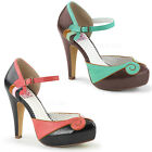 Bettie-17 chice Pin Up Couture High Heels Orsay Riemchenpumps Fauxleder Gr 35-42