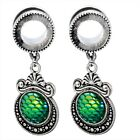 Pair Multi-Style Dangle Stainless Steel Ear Gauges Opal CZ ABALONE Tunnels Plugs