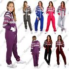 New Womens Aztec Print Hooded Fleece All In One Jumpsuit Zip Up Playsuit