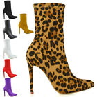 Womens Pointed Toe Stiletto High Heel Ladies Stretch Ankle Boots Shoes Size 3-8