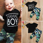 US Stock Newborn Baby Boy Casual Camo T-shirt Tops Long Pants Outfits Clothes