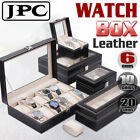 6/10/20 Grid Leather Watch Box Display Jewelry Storage Organizer Collection Case