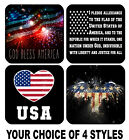 4 DRINK COASTERS - USA 4 America Patriotic Flag United States Pledge Allegiance