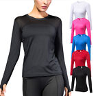Women's Running Yoga Gym Tops Dri-fit Long Sleeve Athletic Base Layers Quick-dry