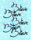 "Quickutz Silhouette ""Believe"" Title Phrase Die Cut Embellishments,  Choose Color"