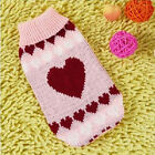 Cute Pink Hearts Pet Dog Cat Puppy Coat Knitted Jumper Sweater Apparel Clothes