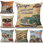Retro Vintage Cars Cushion Cover Pillow Case Cotton Linen Sofa Car Home Decor