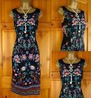 NEW MONSOON BLACK FLORAL DRESS VINTAGE STYLE TEA PARTY OFFICE SHIFT UK 10-18