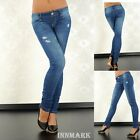 """228 CRUSHED LOW RISE SKINNY DESTROYED LOOK BLUE JEANS LENGTH 34"""" UK 12 LARGE"""