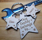 PERSONALISED CHRISTMAS GIFT WOODEN KEYRING DADDY GRANDAD UNCLE DAD FATHERS DAY