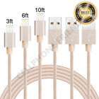 3,6,10ft Braided Lightning Usb Charger Cable Cord For Iphone 5/6/6s/7 8plus Gold