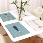 Fish Pattern Insulation Bowl Linen Blend Placemat Dining Pad Western Table Mats
