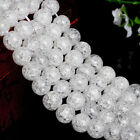 Loose Snow Cracked Round White Faceted Quartz Crystal Spacer Beads 4-10MM