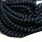 Black Smooth Frosted Glass Round Spacer Loose Beads Craft Jewelry Making 4-12MM