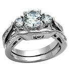 2.50 Ct Round Cut AAA CZ Stainless Steel Wedding Band Ring Set Women's Size 5-11