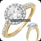 14K Yellow GOLD Ring AMY 2.30Ct Round Diamonds Simulated Engagement for Woman