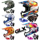GLX Youth Kids Off-Road Helmet + Goggles + Gloves Dirt Bike ATV Motocross [DOT]