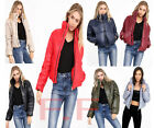 Womens Ladies Wet Look Cropped Padded Bomber Bubble Puffer Short Jacket Coat