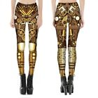 Women High Waist Mechanical Gear 3D Print Party Cosplay Dress Steampunk Leggings