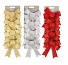 4 pack Christmas Bows Glitter Red Silver Gold bows for Tree Ribbon Decoration