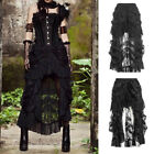 Steampunk Gothic Long Skirt Retro Lace Layers Ruffle Dark Rock High-Low Dress #C