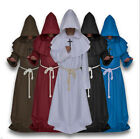 Mens Monk Robe Friar Tuck Costume Priest Medieval Cloak World Book Day 6 Colours