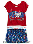 NWT Justice Girls Size 12 Patriotic Shorts & Kitty Tee Shirt Top 2-PC OUTFIT SET