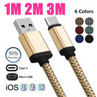 Braided Data Charge Charging Cables 1m/2m/3m For Type C/Andriod Micro USB/ios