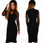 Women Sexy Long Sleeve Paillette Mesh Perspective Spliced Clubwear Casual Dress