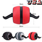 Abdominal Exercise Roller + Knee Pad Mat Workout Fitness Dual Wheel Gym Tool US image