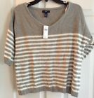 Gap Long Sleeve Blue Gray White Striped Dolman Sweater 100% Cotton Size M, L