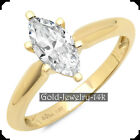 14K Yellow GOLD Ring ALICE 1.0Ct MARQUISE Cut Diamond Simulated Engagement Woman