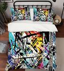 3D Messy Lines 2 Bed Pillowcases Quilt Duvet Cover Set Single Queen King Size AU