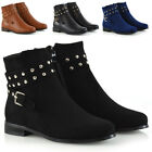 New Womens Ankle Boots Studded Straps Zip Ladies Flat Heel Chelsea Pixie Booties