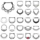 16G 14G Surgical Steel HINGED Segment Nose Ring Septum Clicker Ring Daith