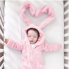 Infant Baby Girl Pink Ear Bunny Rabbit Romper Flannel Jumpsuit Playsuit Outfit