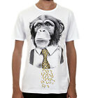 MONKEY BUSINESSMAN Banana Tie / Mens, White, T-Shirt