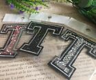 Capital Letter Alphabet T Rhinestones Sequin Embroidered Iron On Patch Applique