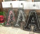 Capital A Alphabet Letter Patch Rhinestones Sequin Embroidered Iron On Applique