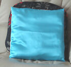 TURQUOISE SATIN DESIGN CUSHION COVER