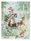 Vintage Reindeer~Angel Girls~CHRISTMAS FABRIC BLOCK~Shabby Pink Chic~Sleigh~222