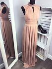 TFNC WEDDING PLEATED MAXI DRESS WITH LACE DETAIL - TAUPE RRP £75 (AS-8/24)