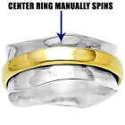 Swirls Solid 925 Silver Spinner Ring Spin Wide Band Choose Size 5-11 DGR1009