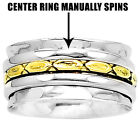 Two Tone Spinner 925 Sterling Silver Ring Jewelry DGR1036