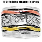 Silver 925 Spinning Ring Thick Copper Meditation Wide Spinner Swirls DGR1025